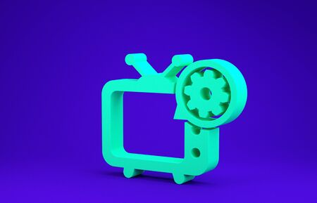 Green Tv and gear icon isolated on blue background. Television service concept. Adjusting app, setting options, maintenance, repair, fixing. Minimalism concept. 3d illustration 3D render