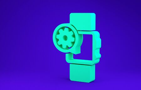 Green Smartwatch and gear icon isolated on blue background. Adjusting app, service concept, setting options, maintenance, repair, fixing. Minimalism concept. 3d illustration 3D render