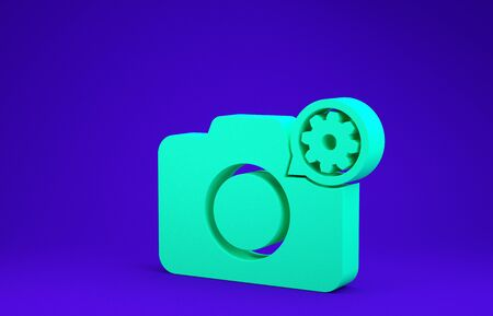 Green Photo camera and gear icon isolated on blue background. Adjusting app, service concept, setting options, maintenance, repair, fixing. Minimalism concept. 3d illustration 3D render