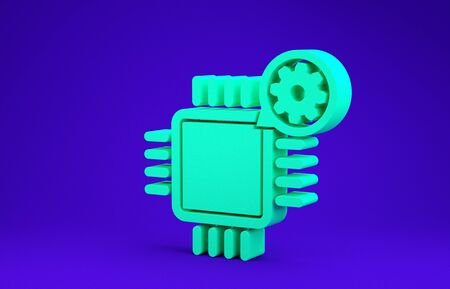 Green Processor and gear icon isolated on blue background. CPU, chip service concept. Adjusting app, setting options, maintenance, repair, fixing. Minimalism concept. 3d illustration 3D render Stock Photo