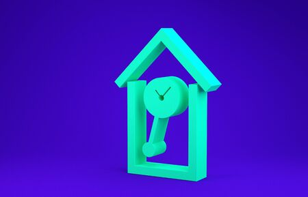 Green Retro wall watch icon isolated on blue background. Cuckoo clock sign. Antique pendulum clock. Minimalism concept. 3d illustration 3D render