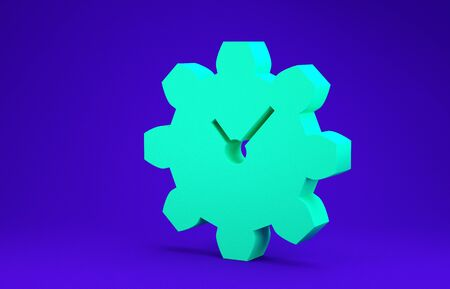 Green Time Management icon isolated on blue background. Clock and gear sign. Productivity symbol. Minimalism concept. 3d illustration 3D render Stok Fotoğraf - 134641452