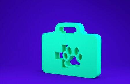 Green Pet first aid kit icon isolated on blue background. Dog or cat paw print. Clinic box. Minimalism concept. 3d illustration 3D render Zdjęcie Seryjne - 134641458