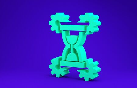 Green Hourglass and gear icon isolated on blue background. Time Management symbol. Clock and gear icon. Productivity symbol. Minimalism concept. 3d illustration 3D render Stok Fotoğraf - 134641742