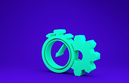 Green Time Management icon isolated on blue background. Clock and gear sign. Productivity symbol. Minimalism concept. 3d illustration 3D render Stok Fotoğraf - 134641743