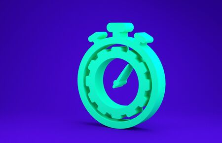 Green Time Management icon isolated on blue background. Clock and gear sign. Productivity symbol. Minimalism concept. 3d illustration 3D render Stok Fotoğraf