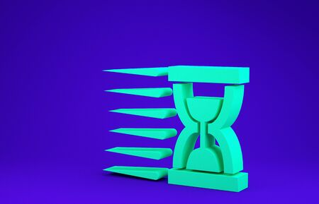 Green Old hourglass with flowing sand icon isolated on blue background. Sand clock sign. Business and time management concept. Minimalism concept. 3d illustration 3D render Stok Fotoğraf - 134641466