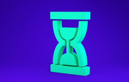 Green Old hourglass with flowing sand icon isolated on blue background. Sand clock sign. Business and time management concept. Minimalism concept. 3d illustration 3D render