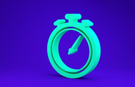 Green Stopwatch icon isolated on blue background. Time timer sign. Chronometer sign. Minimalism concept. 3d illustration 3D render