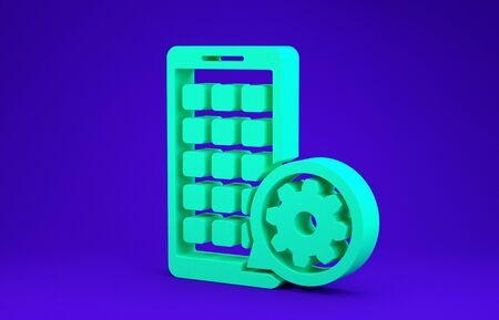 Green Mobile Apps and gear icon isolated on blue background. Adjusting app, service concept, setting options, maintenance, repair, fixing. Minimalism concept. 3d illustration 3D render