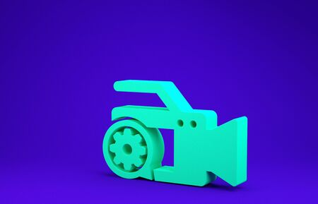 Green Video camera and gear icon isolated on blue background. Adjusting app, service concept, setting options, maintenance, repair, fixing. Minimalism concept. 3d illustration 3D render Stock Photo