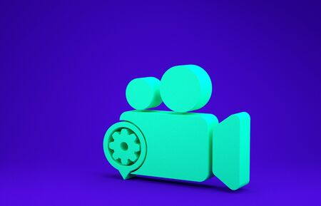 Green Movie or Video camera and gear icon isolated on blue background. Adjusting app, service concept, setting options, maintenance, repair, fixing. Minimalism concept. 3d illustration 3D render Stock Photo