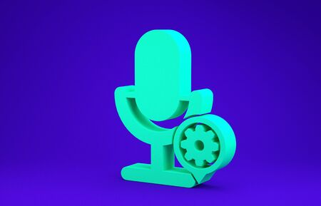 Green Microphone and gear icon isolated on blue background. Adjusting app, service concept, setting options, maintenance, repair, fixing. Minimalism concept. 3d illustration 3D render Stock Photo