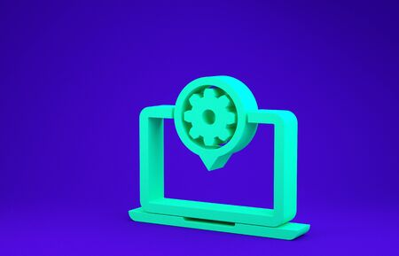 Green Laptop and gear icon isolated on blue background. Laptop service concept. Adjusting app, setting options, maintenance, repair, fixing. Minimalism concept. 3d illustration 3D render