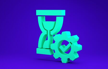 Green Hourglass and gear icon isolated on blue background. Time Management symbol. Clock and gear icon. Productivity symbol. Minimalism concept. 3d illustration 3D render