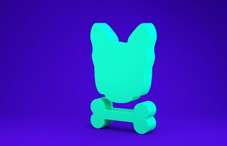 Green Dog and bone icon isolated on blue background. Pets food symbol. Minimalism concept. 3d illustration 3D render