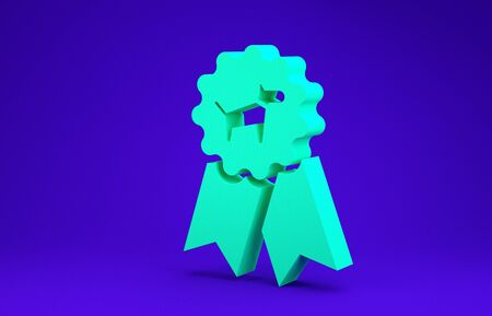 Green Dog award symbol icon isolated on blue background. Medal with dog footprint as pets exhibition winner concept. Minimalism concept. 3d illustration 3D render