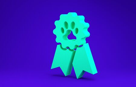 Green Pet award symbol icon isolated on blue background. Badge with dog or cat paw print and ribbons. Medal for animal. Minimalism concept. 3d illustration 3D render