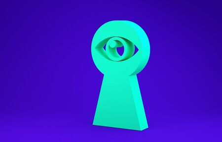 Green Keyhole with eye icon isolated on blue background. The eye looks into the keyhole. Keyhole eye hole. Minimalism concept. 3d illustration 3D render