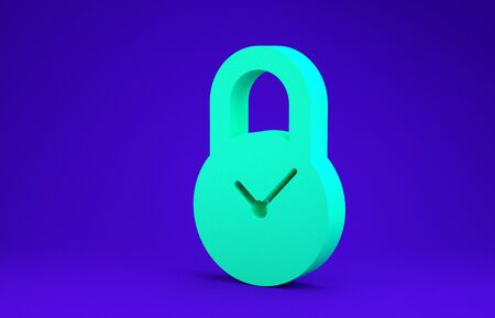 Green Padlock with clock icon isolated on blue background. Time control concept. Lock and countdown, deadline, schedule, planning symbol. Minimalism concept. 3d illustration 3D render Stok Fotoğraf - 134650433