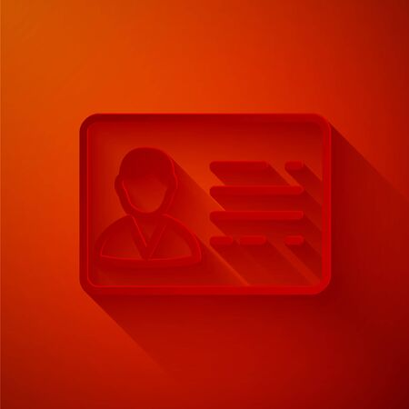 Paper cut Identification badge line icon isolated on red background. It can be used for presentation, identity of the company, advertising. Paper art style. Vector Illustration Ilustração