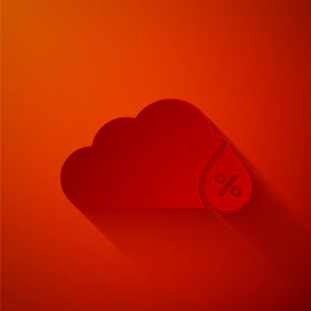 Paper cut Humidity icon isolated on red background. Weather and meteorology, cloud, thermometer symbol. Paper art style. Vector Illustration Ilustração
