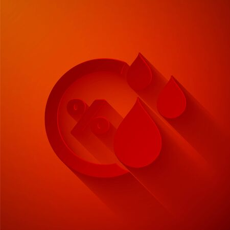Paper cut Humidity icon isolated on red background. Weather and meteorology, thermometer symbol. Paper art style. Vector Illustration