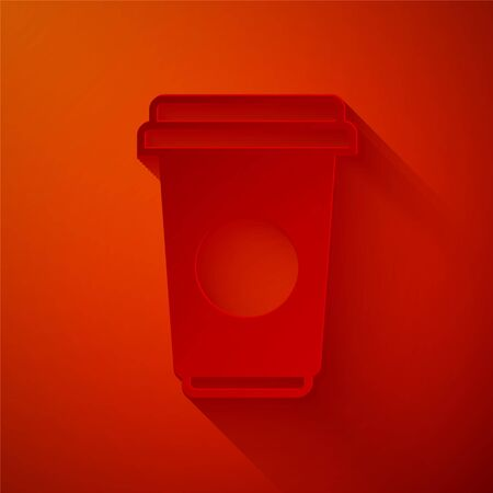 Paper cut Coffee cup icon isolated on red background. Disposable coffee cup with hot coffee. Paper art style. Vector Illustration