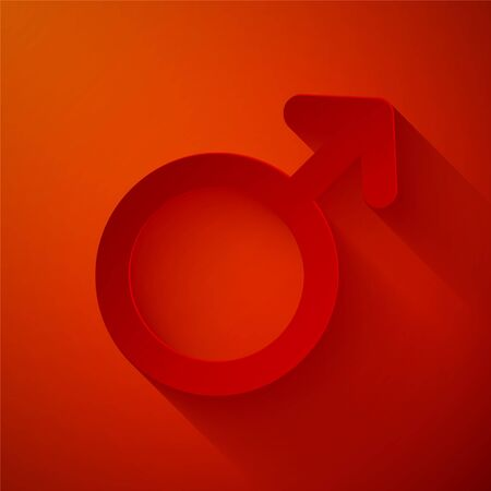 Paper cut Male gender symbol icon isolated on red background. Paper art style. Vector Illustration Standard-Bild - 134662378