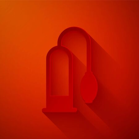 Paper cut Penis pump icon isolated on red background. Penis enlarger. Sex toy for men. Vacuum pump with a blower to increase the penis. Paper art style. Vector Illustration