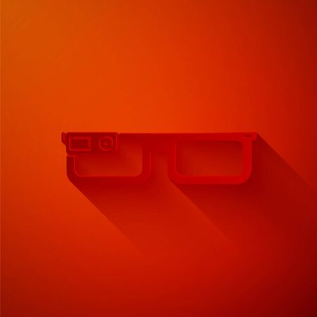 Paper cut Smart glasses mounted on spectacles icon isolated on red background. Wearable electronics smart glasses with camera and display. Paper art style. Vector Illustration