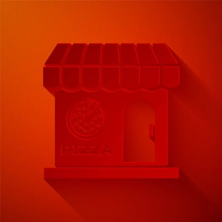 Paper cut Pizzeria building facade icon isolated on red background. Fast food pizzeria kiosk. Paper art style. Vector Illustration