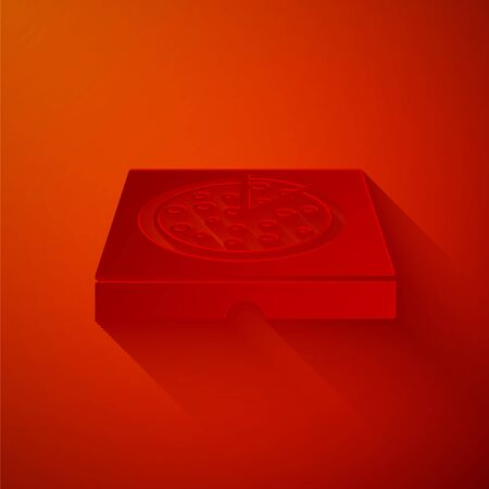 Paper cut Pizza in cardboard box icon isolated on red background. Box with layout elements. Paper art style. Vector Illustration