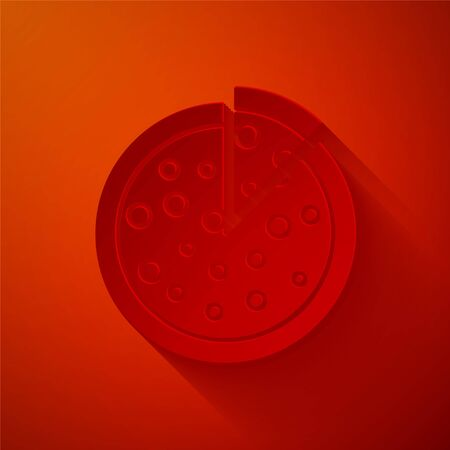 Paper cut Pizza icon isolated on red background. Paper art style. Vector Illustration