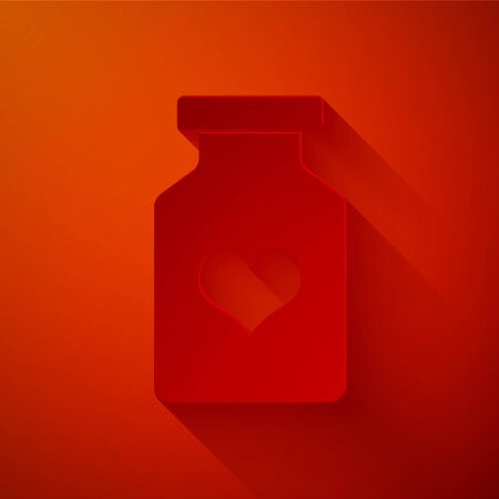 Paper cut Medicine bottle with pills for potency, aphrodisiac icon isolated on red background. Sex pills for men and women. Paper art style. Vector Illustration Illustration