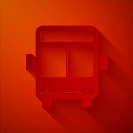 Paper cut Bus icon isolated on red background. Transportation concept. Bus tour transport sign. Tourism or public vehicle symbol. Paper art style. Vector Illustration