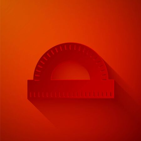 Paper cut Protractor grid for measuring degrees icon isolated on red background. Tilt angle meter. Measuring tool. Geometric symbol. Paper art style. Vector Illustration