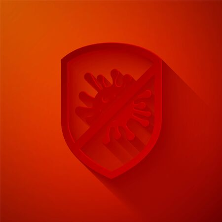 Paper cut Stop virus, bacteria, germs and microbe icon isolated on red background. Antibacterial and antiviral defence, protection infection. Paper art style. Vector Illustration