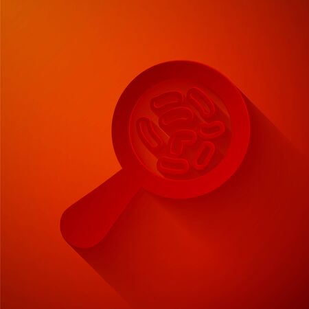 Paper cut Microorganisms under magnifier icon isolated on red background. Bacteria and germs, cell cancer, microbe, virus, fungi. Paper art style. Vector Illustration