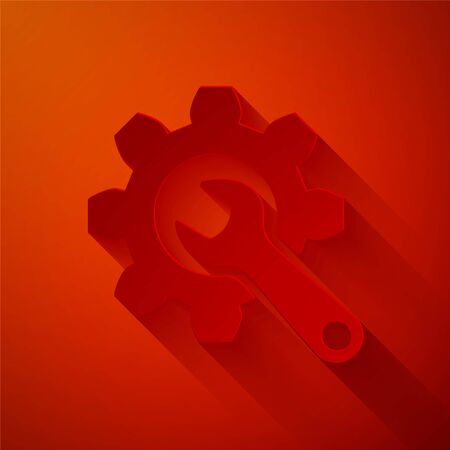 Paper cut Wrench and gear icon isolated on red background. Adjusting, service, setting, maintenance, repair, fixing. Paper art style. Vector Illustration