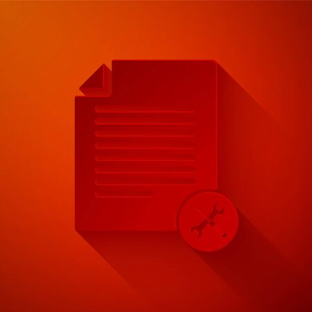 Paper cut File document with screwdriver and wrench icon isolated on red background. Adjusting, service, setting, maintenance, repair, fixing. Paper art style. Vector Illustration Illustration