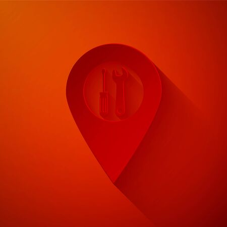 Paper cut Location with crossed screwdriver and wrench tools icon isolated on red background. Pointer settings symbol. Paper art style. Vector Illustration