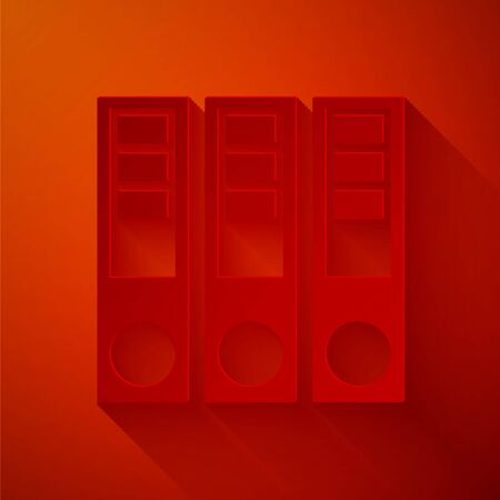 Paper cut Office folders with papers and documents icon isolated on red background. Office binders. Archives folder sign. Paper art style. Vector Illustration Ilustração