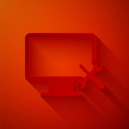 Paper cut Computer monitor with screwdriver and wrench icon isolated on red background. Adjusting, service, setting, maintenance, repair, fixing. Paper art style. Vector Illustration