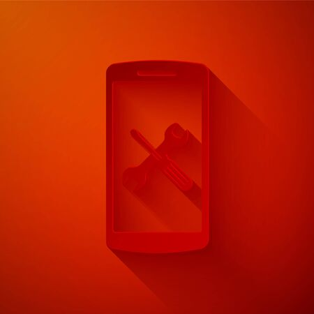 Paper cut Smartphone with screwdriver and wrench icon isolated on red background. Adjusting, service, setting, maintenance, repair, fixing. Paper art style. Vector Illustration Illustration