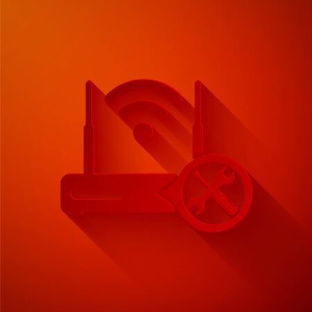 Paper cut Router with screwdriver and wrench icon isolated on red background. Adjusting, service, setting, maintenance, repair, fixing. Paper art style. Vector Illustration