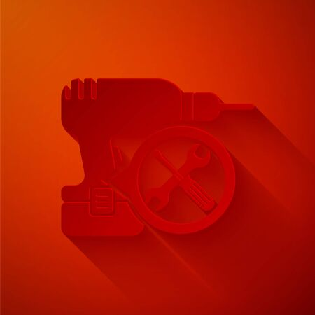 Paper cut Drill machine with screwdriver and wrench icon isolated on red background. Adjusting, service, setting, maintenance, repair, fixing. Paper art style. Vector Illustration