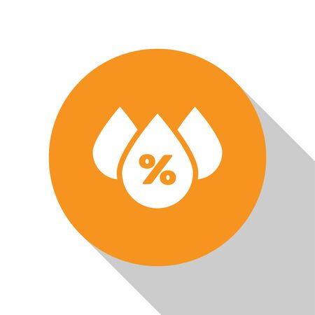 White Water drop percentage icon isolated on white background. Humidity analysis. Orange circle button. Vector Illustration