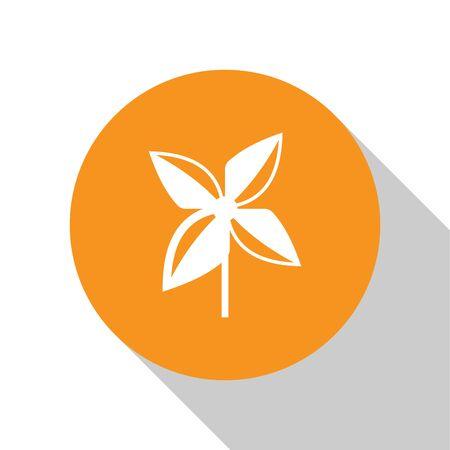 White Pinwheel icon isolated on white background. Windmill toy icon. Orange circle button. Vector Illustration