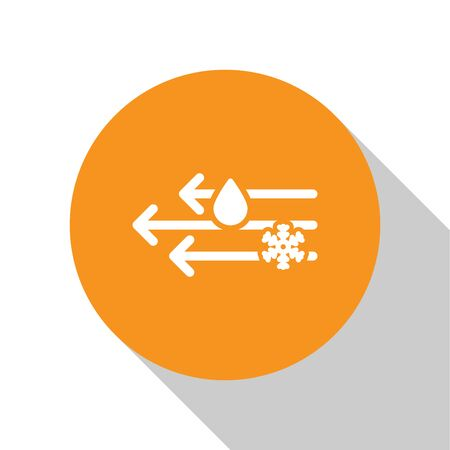 White Wind and rain with snow icon isolated on white background. Windy weather. Orange circle button. Vector Illustration